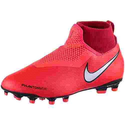 Nike JR PHNTOM VSN ACADEMY DF FG/MG Fußballschuhe Kinder brt crimson-mtlc silver-univ red-black
