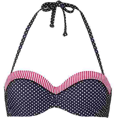 S.OLIVER Bikini Oberteil Damen marine-weiß
