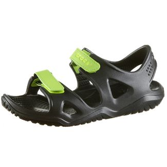 Crocs Swiftwater River Badelatschen Kinder black-volt-green
