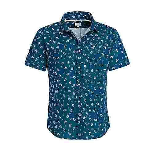 Khujo SINCO Kurzarmhemd Herren blau gemustert