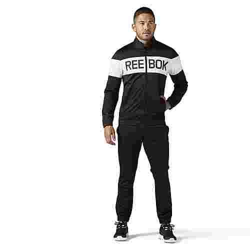 Reebok Cuffed Tricot Tracksuit Trainingsanzug Herren Black / White