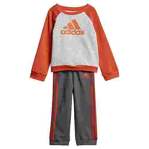 adidas French Terry Jogginganzug Trainingsanzug Kinder Light Grey Heather / Active Orange