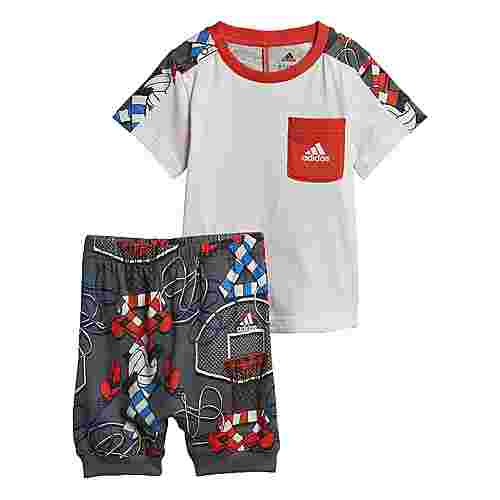 adidas Style Sommer-Set Trainingsanzug Kinder White / Active Orange / Grey Five / True Blue