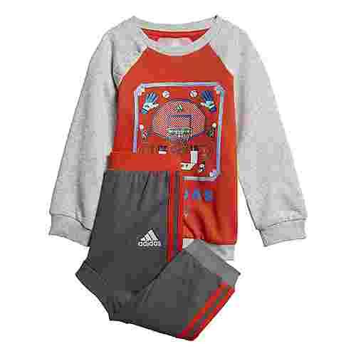 adidas French Terry Graphic Jogginganzug Trainingsanzug Kinder Active Orange / Light Grey Heather / White