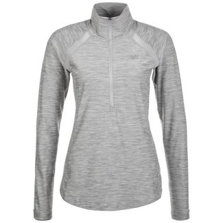 NEW BALANCE In Transit Half-Zip Laufshirt Damen grau
