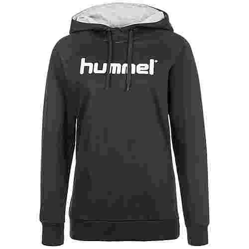 hummel Cotton Logo Kapuzenpullover Damen schwarz / weiß