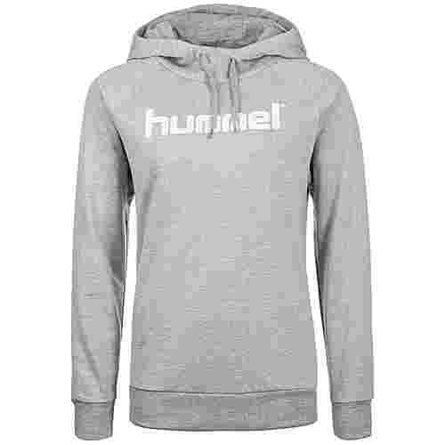 hummel Cotton Logo Kapuzenpullover Damen grau / weiß