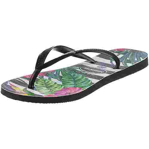 Havaianas Slim Tropical Zehentrenner Damen floral black-black-imperial palace