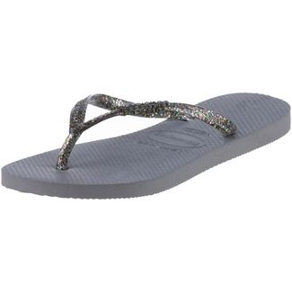 Havaianas Slim Logo Metallic Zehentrenner Damen steel grey-graphite