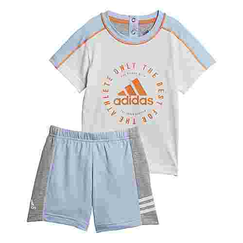 adidas Sommer-Set Trainingsanzug Kinder White / Clear Sky / True Orange