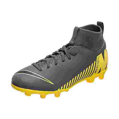 Nike Mercurial Superfly VI Club Fußballschuhe Kinder dunkelgrau / gelb