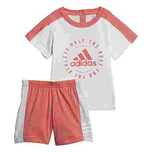 adidas Sommer-Set Trainingsanzug Kinder White / Prism Pink