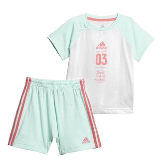 adidas Sommer-Set Trainingsanzug Kinder Clear Mint / White / Prism Pink