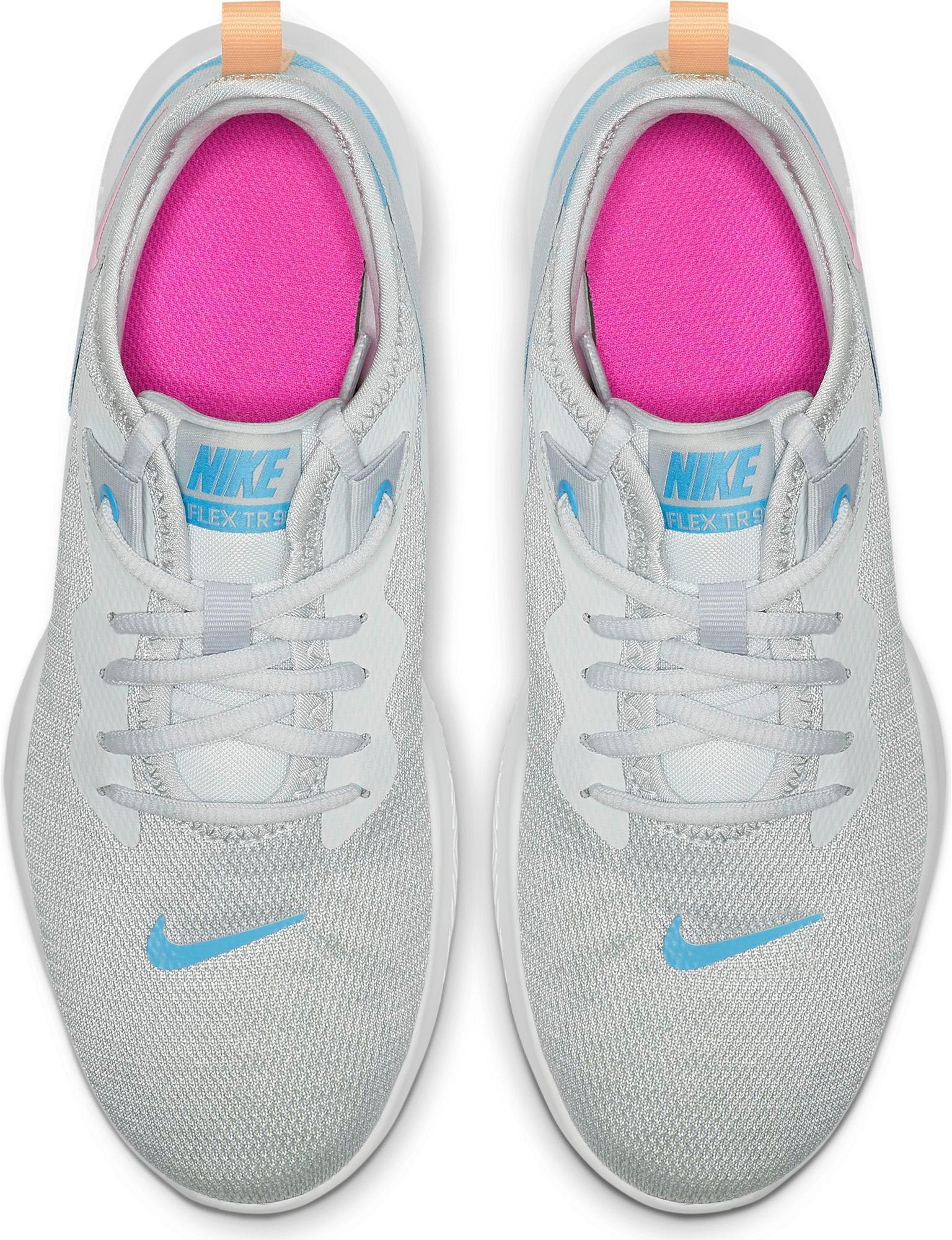 Nike Flex Trainer 9 Fitnessschuhe Damen pure platinum laser fuchsia white blue im Online Shop von SportScheck kaufen