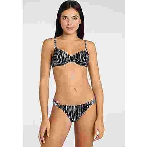 S.OLIVER Bikini Hose Damen schwarz-weiß-gepunktet