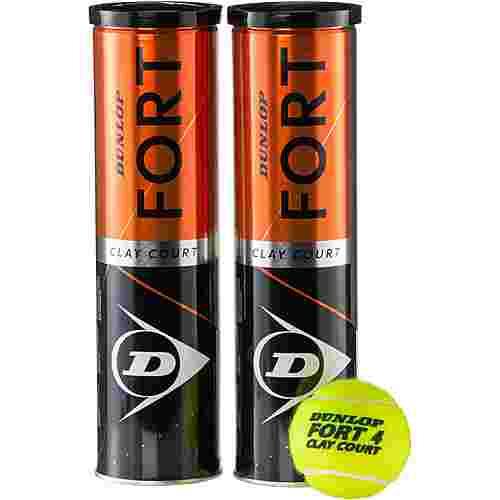 Dunlop Fort Clay Court 2x4er Tennisball gelb