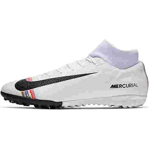 Nike MERCURIAL SUPERFLY 6 ACADEMY CR7 TF Fußballschuhe white-black-pure platinum