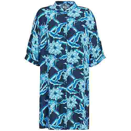 Khujo NAGA Kurzarmkleid Damen blau geblümt