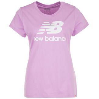 NEW BALANCE Essentials Stacked Logo T-Shirt Damen violett / weiß