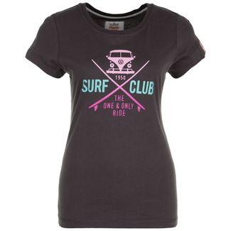 VAN ONE Surf Club T-Shirt Damen schwarz / pink