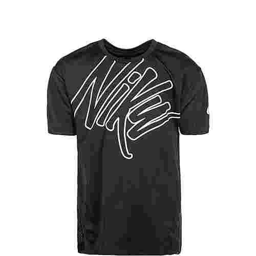 Nike Dry Graphic Laufshirt Kinder schwarz / weiß