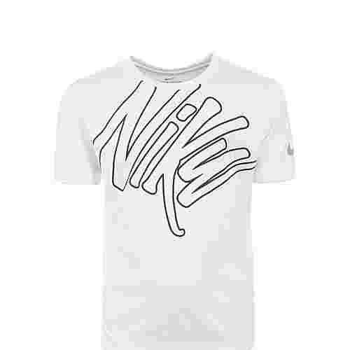Nike Dry Graphic Laufshirt Kinder weiß / schwarz