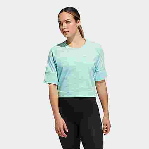 adidas Sport 2 Street T-Shirt Funktionsshirt Damen Clear Mint Mel / White