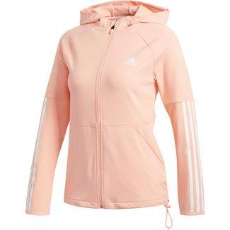 adidas Must Haves 3 Streifen Kapuzenjacke Sweatjacke Damen Glow Pink White im Online Shop von SportScheck kaufen
