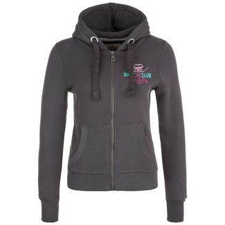VAN ONE Surf Club Sweatjacke Damen dunkelgrau / pink