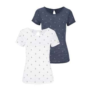 BEACH TIME Shirt Doppelpack Damen marine + weiß