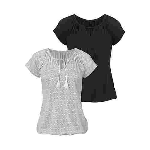 Vivance Shirt Doppelpack Damen creme-gemustert+schwarz-uni