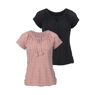 Vivance Shirt Doppelpack Damen rosa-gemustert+schwarz-uni