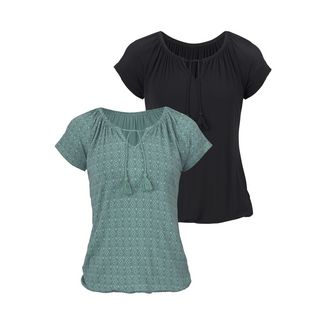 Vivance Shirt Doppelpack Damen mint-gemustert+schwarz-uni