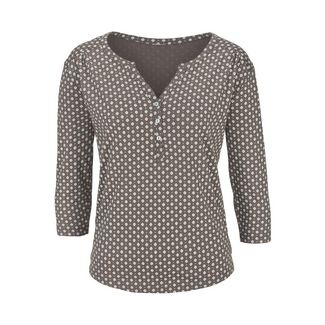 Lascana V-Langarmshirt Damen 1x taupe allover