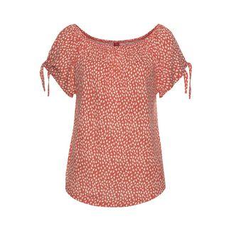 S.OLIVER T-Shirt Damen orange-creme-bedruckt