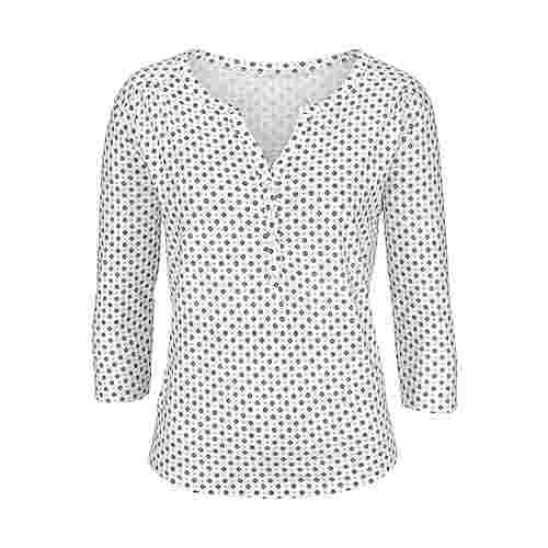 Lascana V-Langarmshirt Damen offwhite