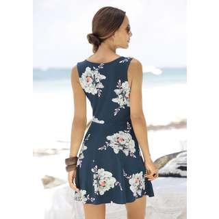 BEACH TIME Jerseykleid Damen blau-geblümt