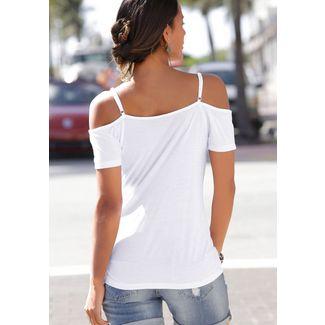 S.OLIVER T-Shirt Damen weiß-rot-bedruckt