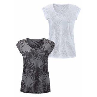 BEACH TIME Shirt Doppelpack Damen grau+weiß