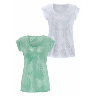 BEACH TIME Shirt Doppelpack Damen mint+weiß