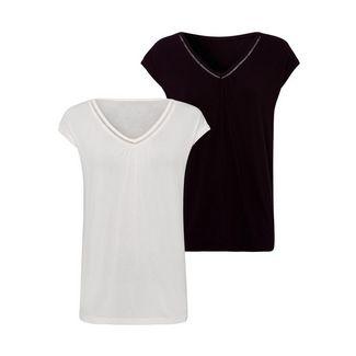 Vivance V-Shirt Damen creme+schwarz