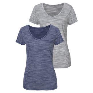 BEACH TIME Shirt Doppelpack Damen blau-grau