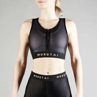 MOROTAI Performance Double Layer Zip Bra Sport-BH Damen Schwarz