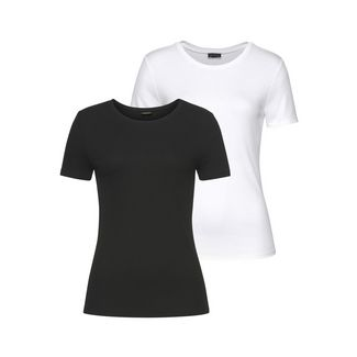 Lascana Shirt Doppelpack Damen weiß+schwarz