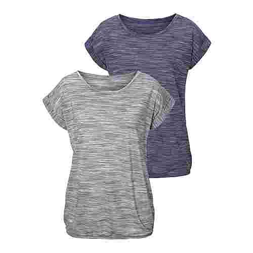 BEACH TIME Shirt Doppelpack Damen blau-meliert+grau-meliert