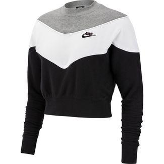 Nike Sweatshirt Damen black-dark grey heather-white
