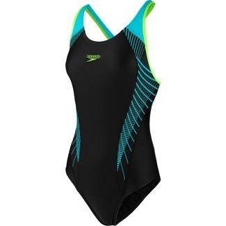 SPEEDO Fit Laneback Schwimmanzug Damen black-aqua splash-bright zest
