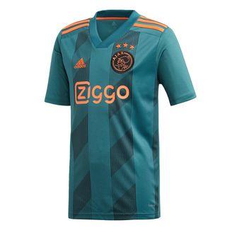 adidas Ajax Auswärtstrikot Fußballtrikot Kinder Tech Green / Black / Semi Solar Orange