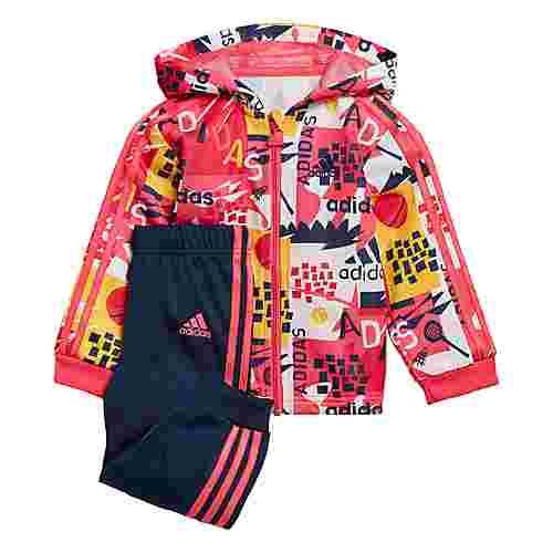 adidas Shiny Hooded Jogger Set Trainingsanzug Kinder Real Pink