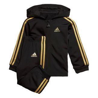 adidas Shiny Hooded Jogger Set Trainingsanzug Kinder Black / Gold Met.